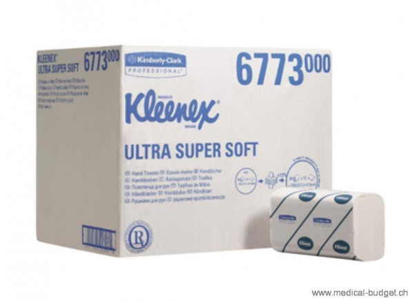 Kleenex Ultra Super-Soft Essuie-mains Airflex 6773 pliage Interfold, blanc, 3 couches 21,5x41,5cm p.à 2160