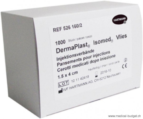 DermaPlast Isomed Pansements pour injections 1,5x4cm chair, en vlies non-tissé, p.à 1000