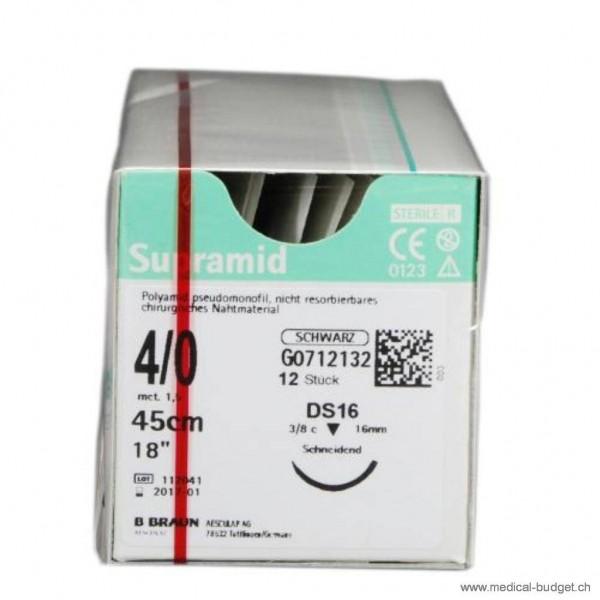Supramid noir DS-16 4-0 45cm p.à 1 dz.