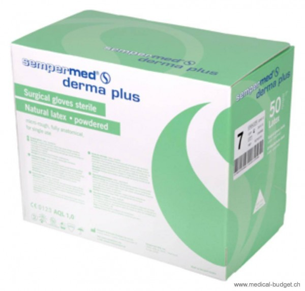 Sempermed Derma Plus Gants-OP en latex Gr.7,5 poudré, stérile, p.à 50 paires