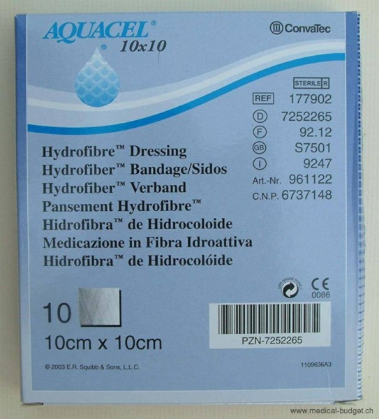 Aquacel Extra Hydrofiber Compresses 5x5cm p.à 10