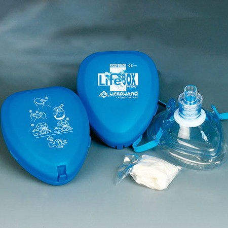 LifeBox Pocket Breezer faltbare Taschenmaske in Pocket-Box blau