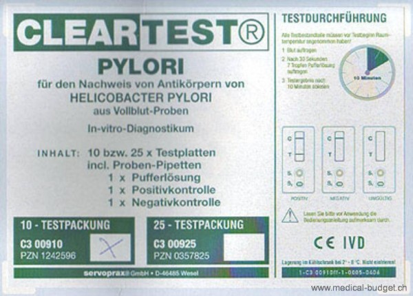 Cleartest Helicobacter Pylori Schnelltest Vollblut P.à 10