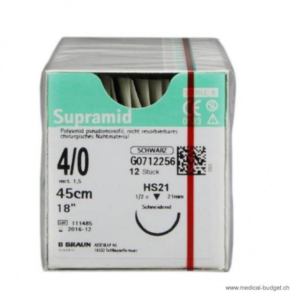 Supramid noir HS-21 4-0 45cm, p.à 1 dz.