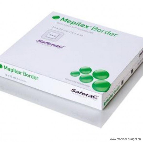Mepilex Border Safetac 10x10cm Pansement hydro- cellulaire autoadhésif, stérile avec coussin absorbant 6,5x6,5cm p.à 5