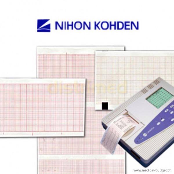 Papier ECG plié Nihon Kohden Cardiofax A730/ 9010/9020 et 9022, 110mmx21m, paquet de 5