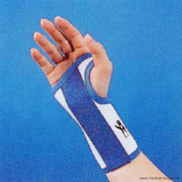 Thämert Orthoflex Handgelenkbandage links Gr.S 14,0-16,5cm Länge 16cm weiss-blau