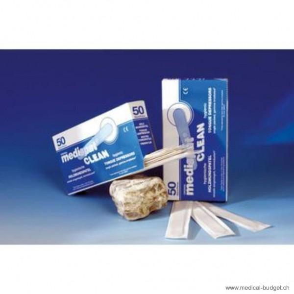 Medispat Clean Abaisse-langue en bois, sans écharde, emballé individ. en papier, p.à 50 pces