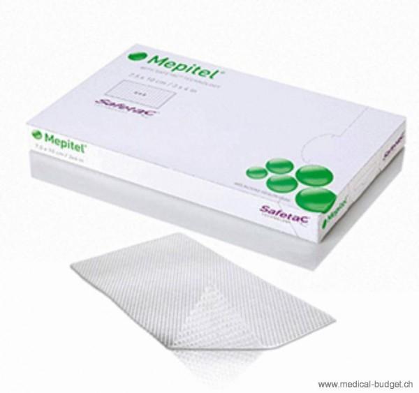 Mepitel Safetac 5x7cm Pansement interface siliconisé des deux cotés, stérile transparent non-adhésif p.à 5