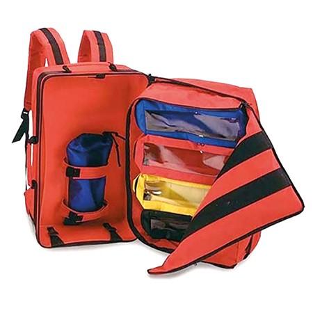 Notfallrucksack ATLS O2 32x22x52cm rot aus Nylon inkl. O2 Halterung und 4 Modultaschen
