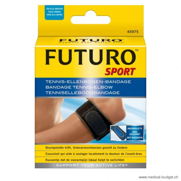 Futuro Sport Tennis-Ellenbogen-Bandage schwarz Universal-Gr. Umfang Ellenbog. 17,8-35,6cm beidseitig tragbar