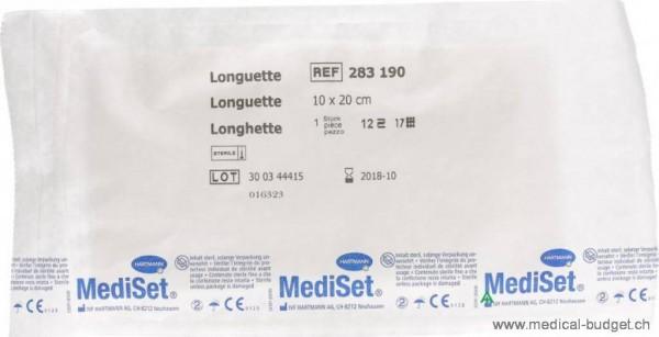 Mediset Longuetten 10x20cm 12-fach 17fädig steril 25 Btl.à 2
