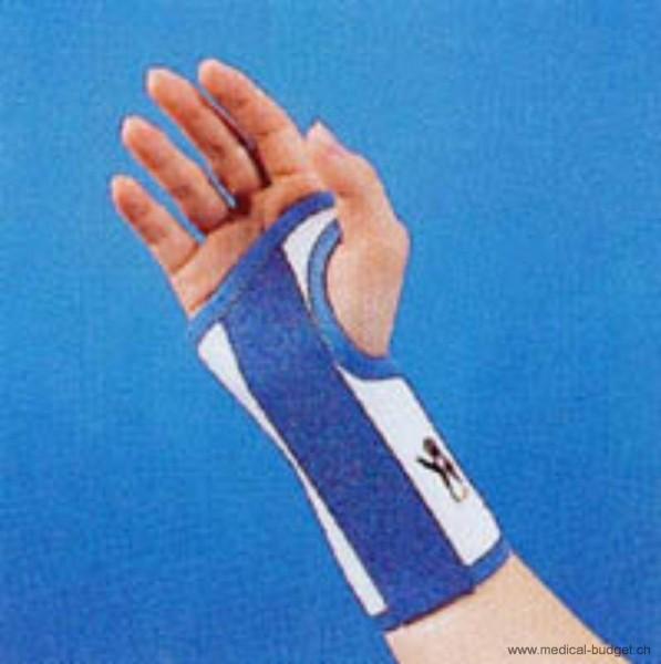 Thämert Orthoflex Handgelenkbandage links Gr.L 18,5-20,5cm Länge 16cm weiss-blau