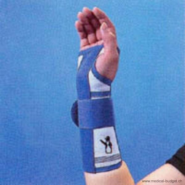 Thämert Orthoflex Handgelenkbandage links Gr.S 14,0-16,5cm Länge 20cm weiss-blau